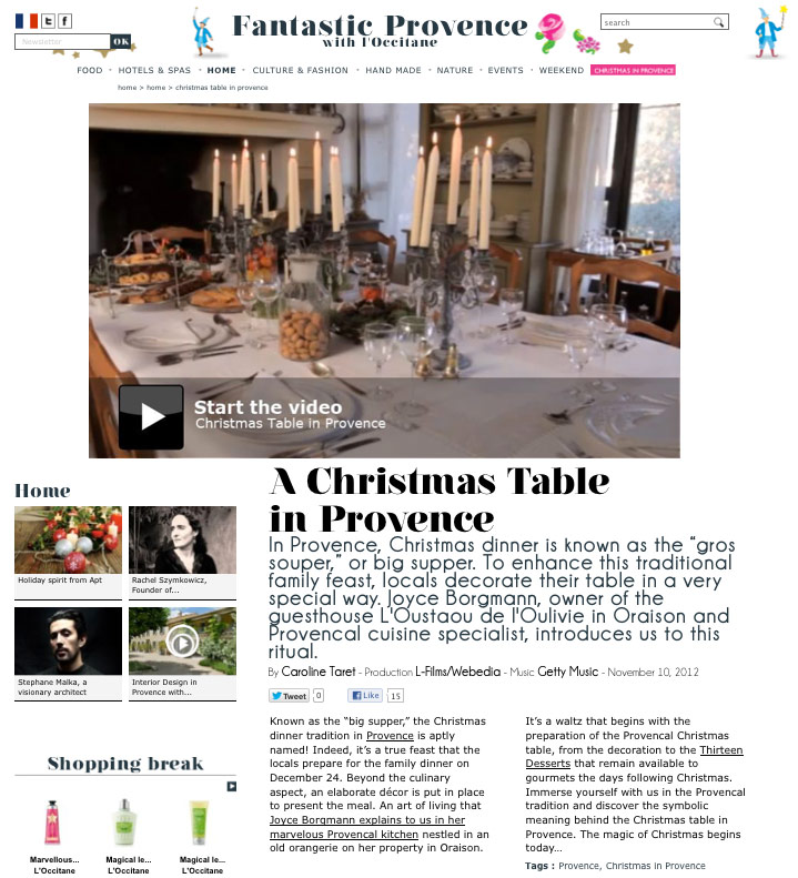 Tafelen met Kerst in de Provence